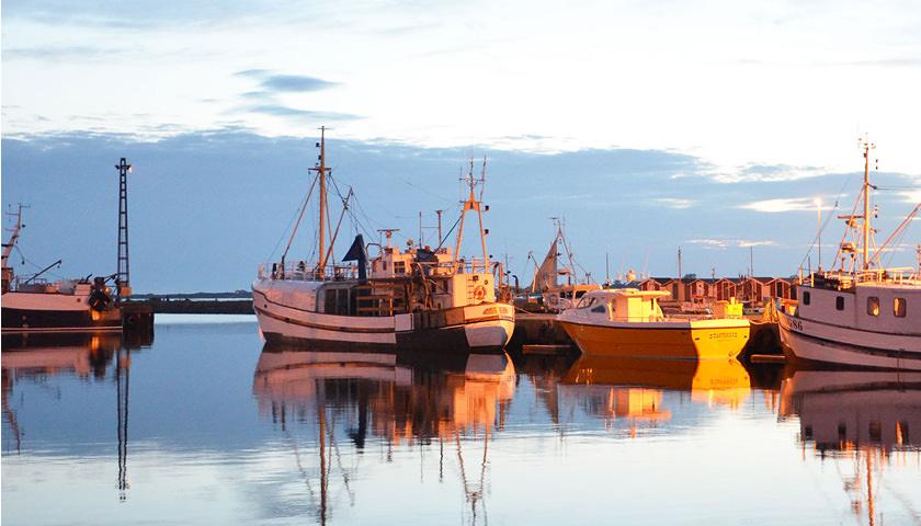 Aftensol på Varberg havn