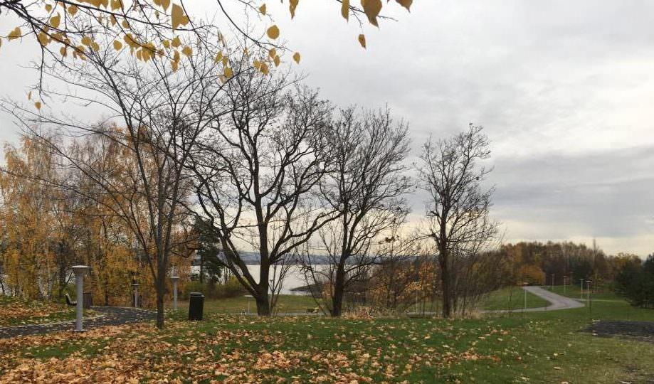 Park foran hotellet ned mod lille strand