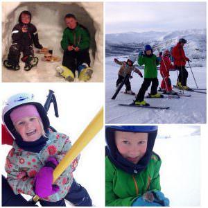 Familie på skiferie i Norden